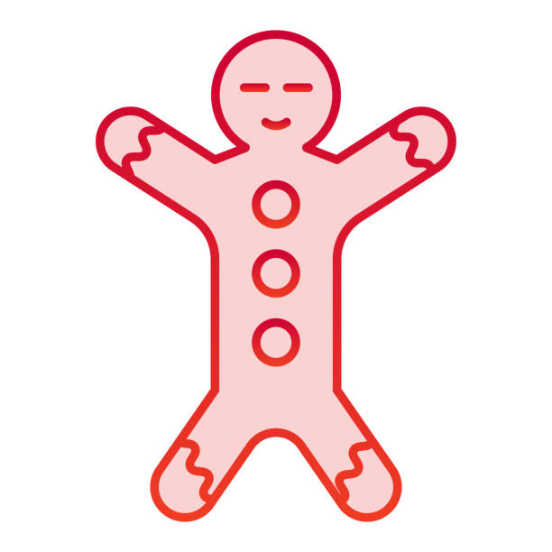 Gingerbread color icon. Ginger cookie in shape of man symbol, gradient style pictogram on white background. Christmas holiday item sign for mobile concept and web design. Vector graphics. Gingerbread color icon. Ginger cookie in shape of man symbol, gradient style pictogram on white background. Christmas holiday item sign for mobile concept and web design. Vector graphics decorating a cake stock illustrations