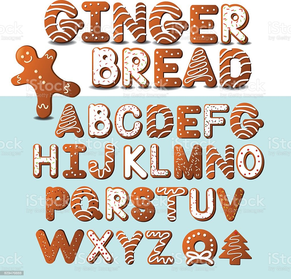 Gingerbread cookie alphabet vector art illustration