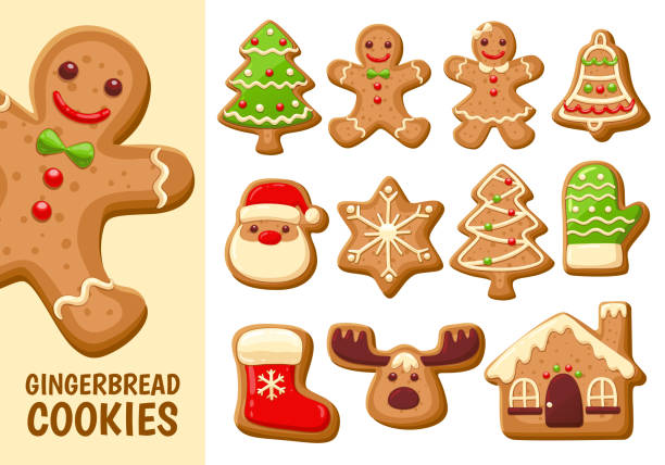 ilustraciones, imágenes clip art, dibujos animados e iconos de stock de colección de galletas de pan de jengibre. ajuste 1. - gingerbread man