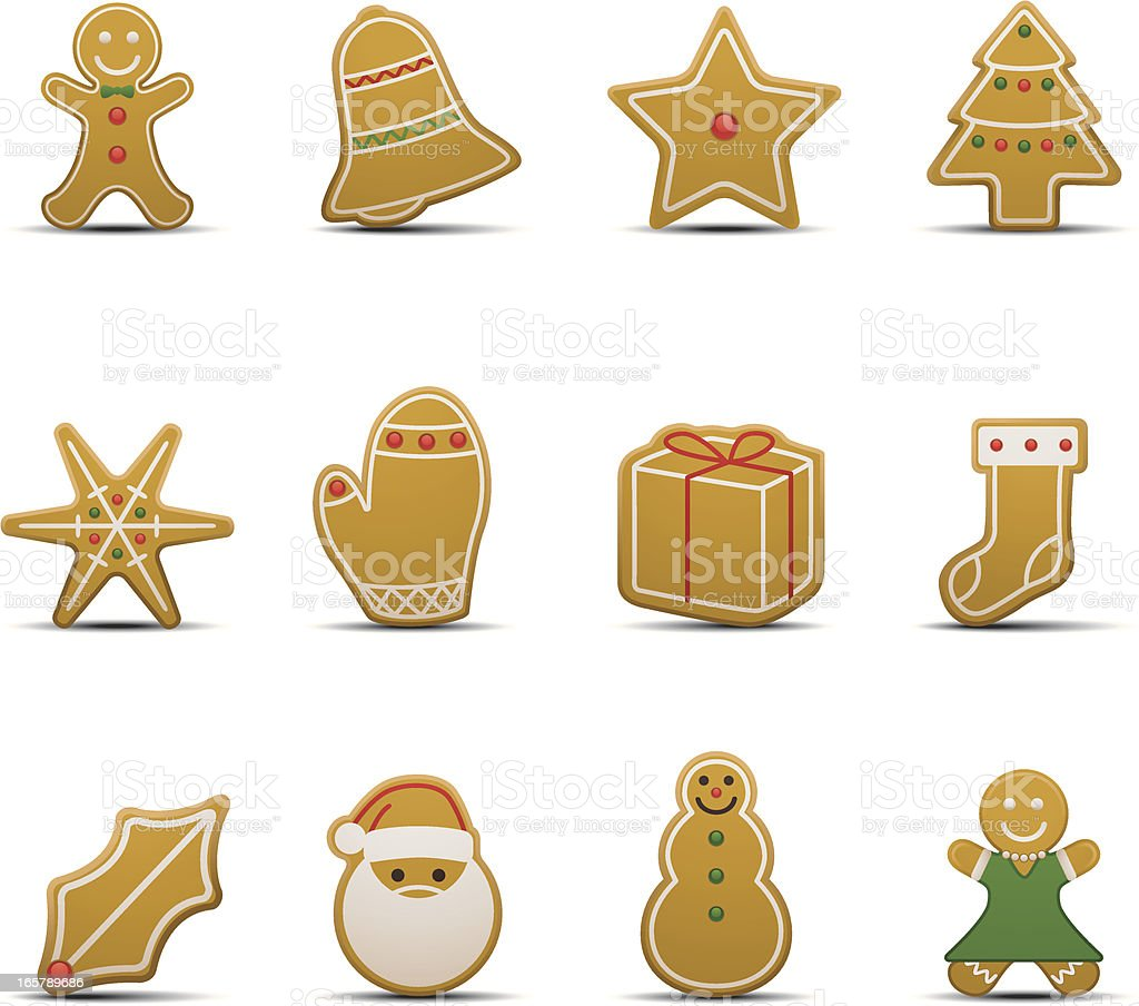Gingerbread Cookie Icons vector art illustration
