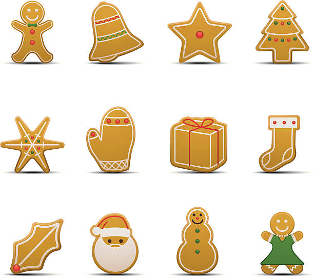 gingerbread cookie-symbole - gummibonbon stock-grafiken, -clipart, -cartoons und -symbole
