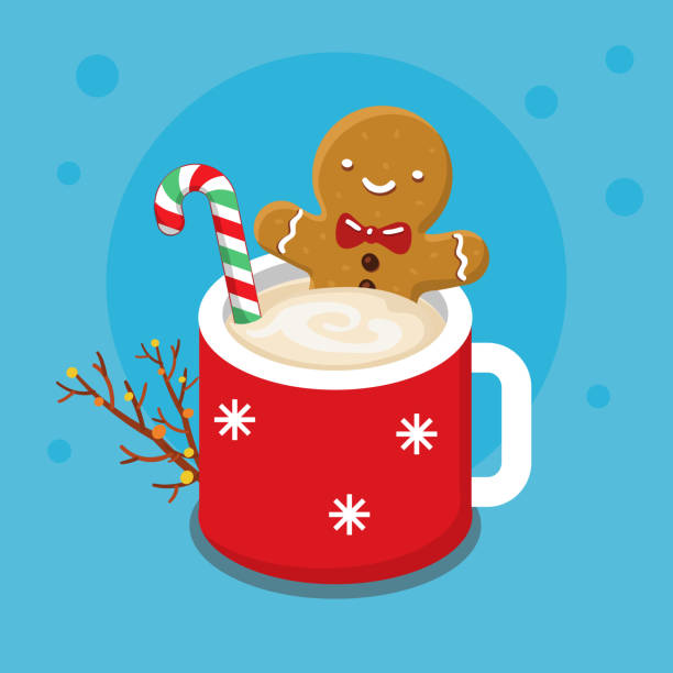 Gingerbread cookie man in a hot cup Christmas card with nice cartoon character. Gingerbread cookie man in a hot cup of cappuccino. Flat design, vector illustration hot chocolate stock illustrations