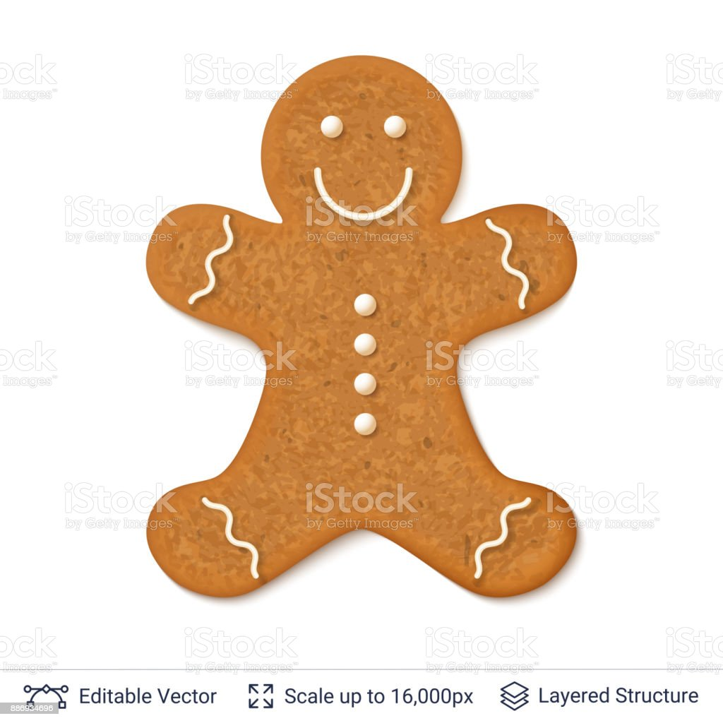 Gingerbread cookie man isolated on white. Traditional Christmas cookieman shaped baking. Editable vector illustration. Adult stock vector