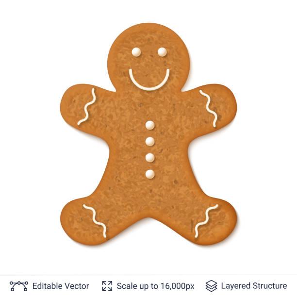 ilustraciones, imágenes clip art, dibujos animados e iconos de stock de hombre de pan de jengibre galletas aislado en blanco. - gingerbread man