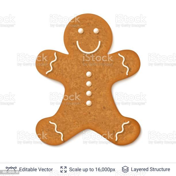 Gingerbread Cookie Man Isolated On White Stock Illustration - Download Image Now