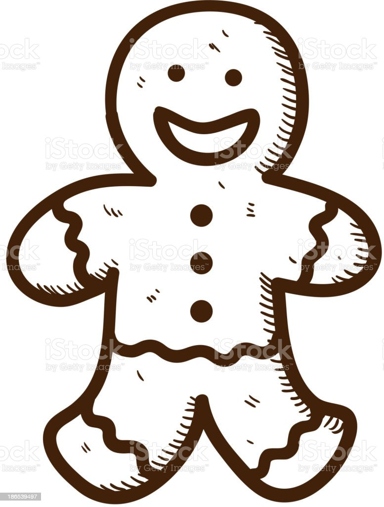 Gingerbread cookie man royalty-free stock vector art