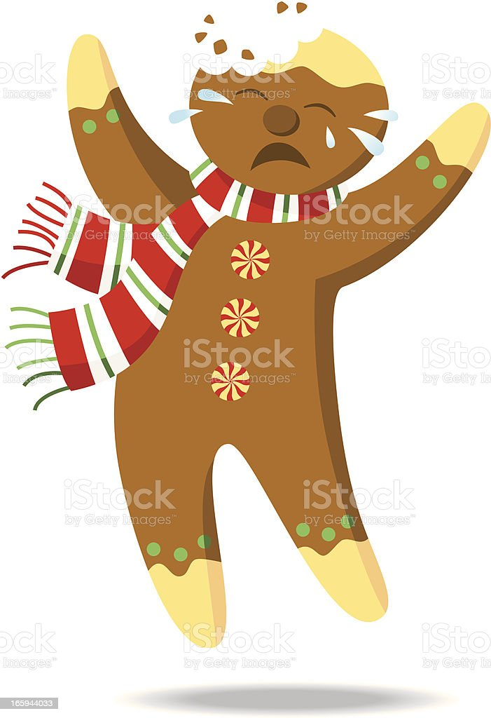 Gingerbread cookie with a bite royalty-free stock vector art