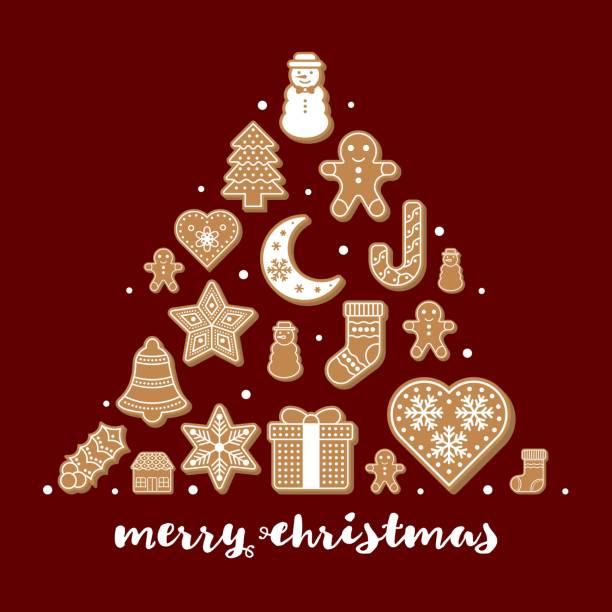 stockillustraties, clipart, cartoons en iconen met peperkoek cookies regelen als vorm voor gebruik als poster of achtergrond voor merry christmas thema bewerkbare omtrek - pinaceae