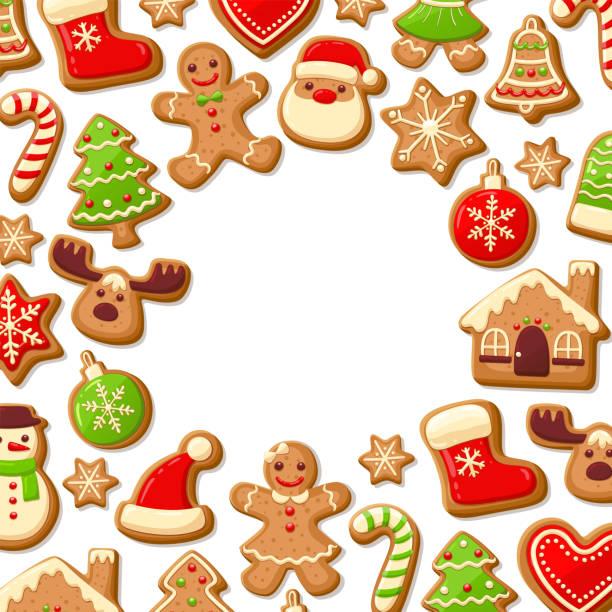 ilustrações de stock, clip art, desenhos animados e ícones de gingerbread cookies background - bolacha
