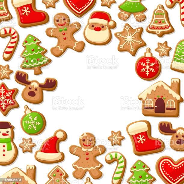 Gingerbread Cookies Background - Arte vetorial de stock e mais imagens de Açúcar