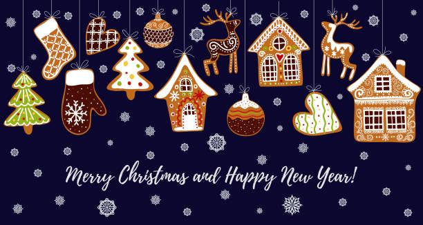 bildbanksillustrationer, clip art samt tecknat material och ikoner med pepparkakor cookies bakgrund med en redigerbar tomt utrymme i mitten. julhälsning kort mall. - pepparkaka