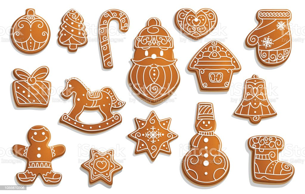 Gingerbread cookies, Christmas holiday food - Royalty-free Abeto arte vetorial