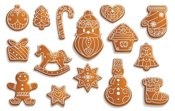 ilustrações de stock, clip art, desenhos animados e ícones de gingerbread cookies, christmas holiday food - christmas cookies