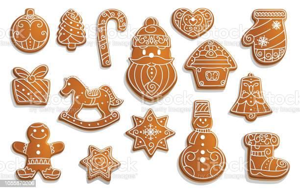 Gingerbread Cookies Christmas Holiday Food - Arte vetorial de stock e mais imagens de Abeto