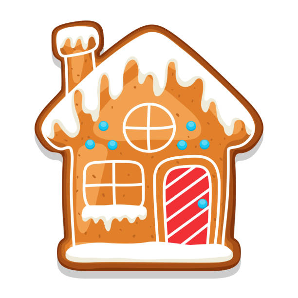 Gingerbread cookies house. Illustration of Merry Christmas sweets Gingerbread cookies house. Illustration of Merry Christmas sweets. decorating a cake stock illustrations