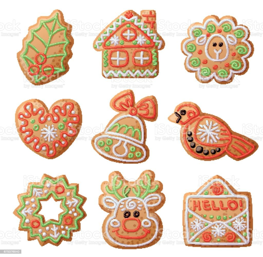 Gingerbread Cookies Set Isolated On White Background Decorative