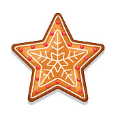 Gingerbread cookies star. Illustration of Merry Christmas sweets.