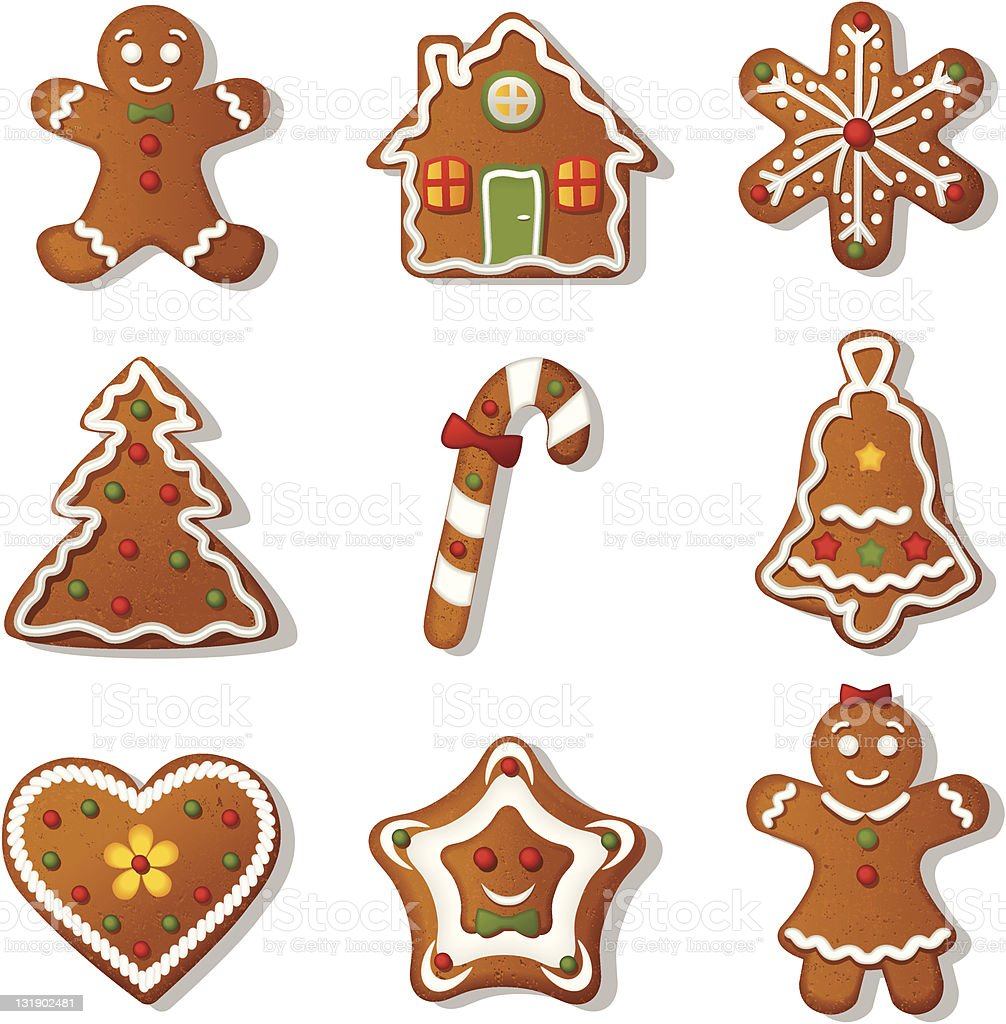 Gingerbread cookies vector art illustration