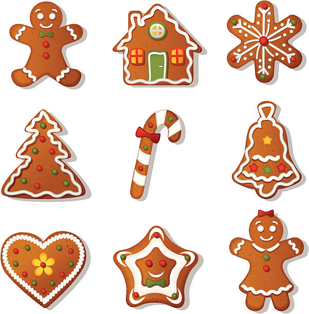 stockillustraties, clipart, cartoons en iconen met gingerbread cookies - speculaas