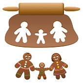 Gingerbread family, father, mother, child. Happy parents with their son cut out of lebkuchen dough. Isolated vector illustration on white background.