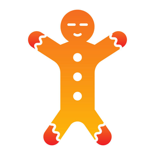 Gingerbread flat icon. Ginger cookie in shape of man symbol, gradient style pictogram on white background. Christmas holiday item sign for mobile concept and web design. Vector graphics. Gingerbread flat icon. Ginger cookie in shape of man symbol, gradient style pictogram on white background. Christmas holiday item sign for mobile concept and web design. Vector graphics decorating a cake stock illustrations