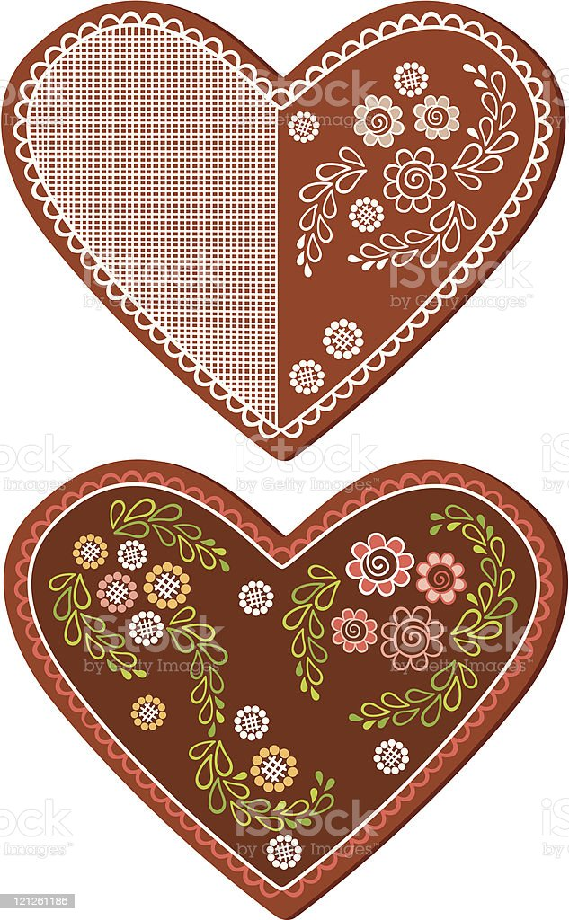 Gingerbread heart royalty-free stock vector art