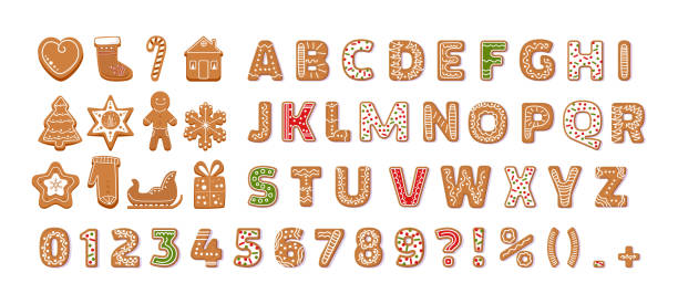 Gingerbread holidays cookies font alphabet vector cartoon illustration Gingerbread holidays cookies font alphabet, Christmas or New Year winter food. Figures decorated glazed sugar, arabic number and sign. Cookies gift box, heart, house, mitten, tree vector illustration alphabet symbols stock illustrations