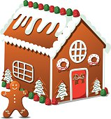 Gingerbread house and gingerbread man