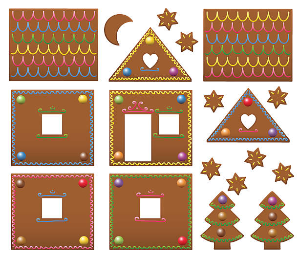 gingerbread house candies model template - lebkuchenhaus stock-grafiken, -clipart, -cartoons und -symbole