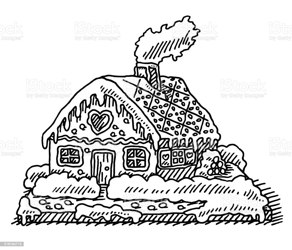 Christmas Gingerbread House Drawing.Gingerbread House Christmas Drawing Stock Illustration