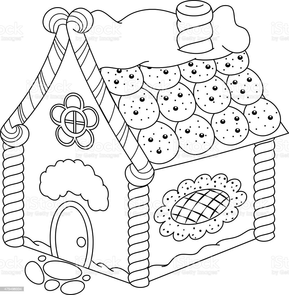 - Gingerbread House Coloring Page Stock Illustration - Download Image Now -  IStock