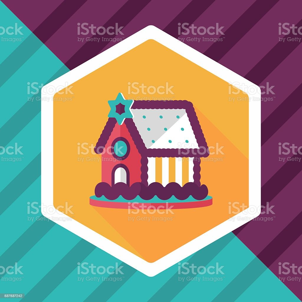 Gingerbread house flat icon with long shadow,eps10 vector art illustration