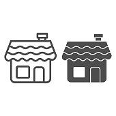Gingerbread house line and solid icon, bakery concept, Gingerbread cookie sign on white background, Holiday cookie in shape of house icon in outline style for mobile and web design. Vector graphics