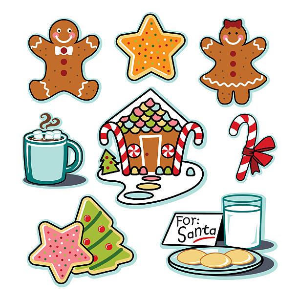 Gingerbread house, man, woman, hot chocolate, cookies santa illustration set vector art illustration