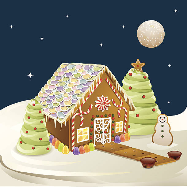 stockillustraties, clipart, cartoons en iconen met gingerbread house scene - speculaas