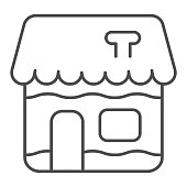 Gingerbread house thin line icon. Fairy tale candy , holiday cookie symbol, outline style pictogram on white background. Bakery shop sign for mobile concept and web design. Vector graphics