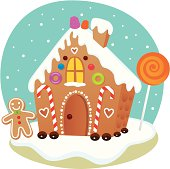 Fun, decorated gingerbread house for the holidays. Editable vector file.