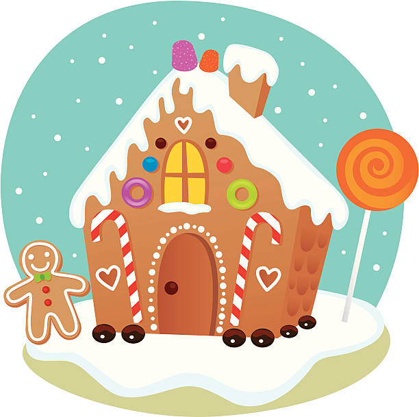 stockillustraties, clipart, cartoons en iconen met gingerbread house - speculaas