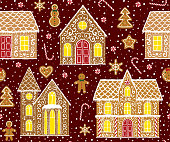 Christmas gingerbread seamless pattern with gingerbread houses on dark red background