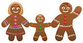 Gingerbread love couple with heart - cute and sweet christmas cookies.