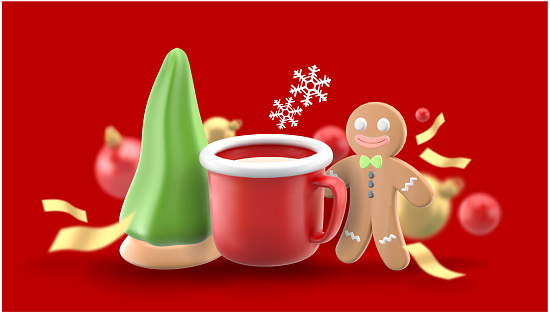 Gingerbread man and hot cocoa mug surrounded by Christmas tree cookies and gift boxes on a red background.