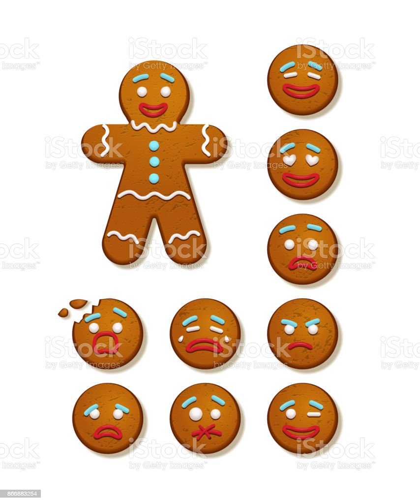 Gingerbread man and set of gingerbread man faces. Vector Christmas and New Year holiday elements. vector art illustration