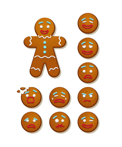 ilustrações de stock, clip art, desenhos animados e ícones de gingerbread man and set of gingerbread man faces. vector christmas and new year holiday elements. - christmas cookies