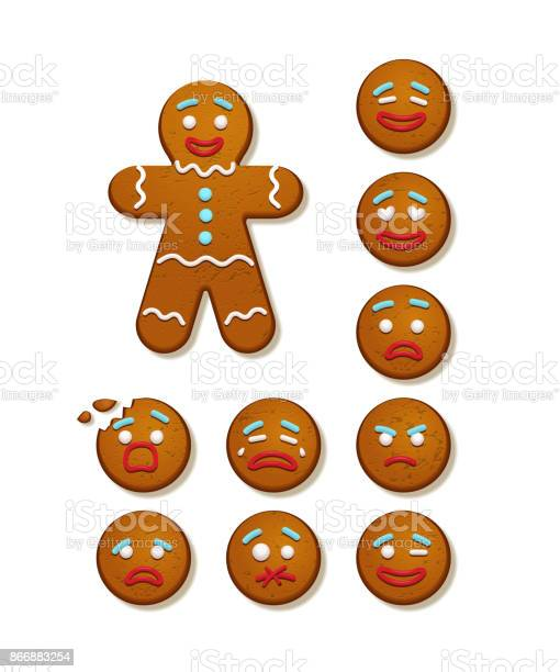 Gingerbread Man And Set Of Gingerbread Man Faces Vector Christmas And New Year Holiday Elements Stock Illustration - Download Image Now