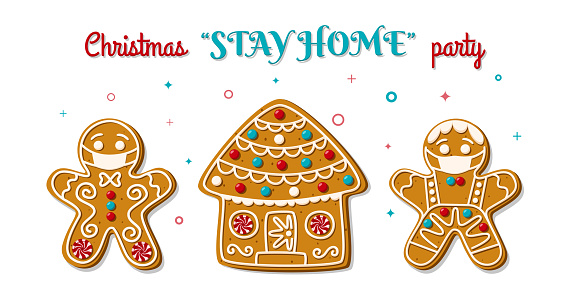 Gingerbread man and woman in face mask on stay home party. Christmas homemade cookies. The symbol is new normal. Vector illustration