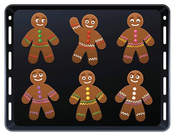ilustrações de stock, clip art, desenhos animados e ícones de gingerbread man baking plate - cooker happy