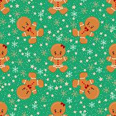 Gingerbread man boy, girl, Christmas seamless pattern with stars, snowflakes on green background. Endless texture. Sample children design cartoon background. Vector glazed brown cute character print.