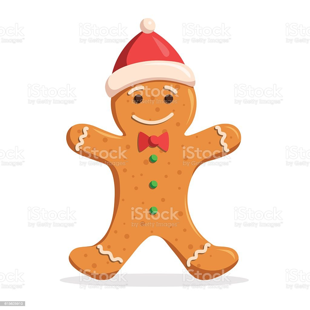Gingerbread man Christmas vector art illustration