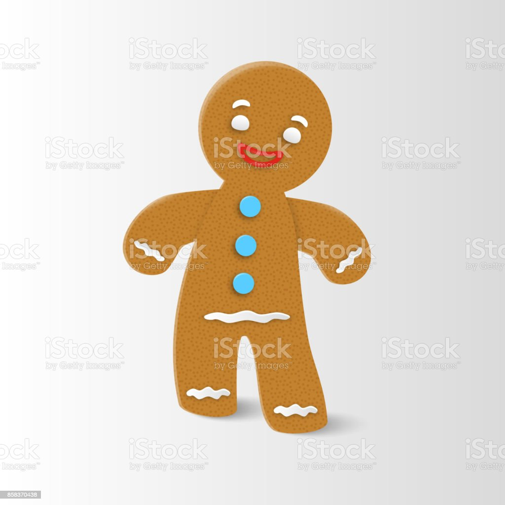 Gingerbread man Christmas Gingerbread man Christmas cookie character with realistic shadow. Vector illustration. Baked stock vector