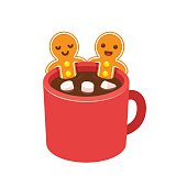 Two gingerbread man cookies in hot chocolate cup with marshmallows. Funny Christmas greeting card. Cute cartoon vector illustration.